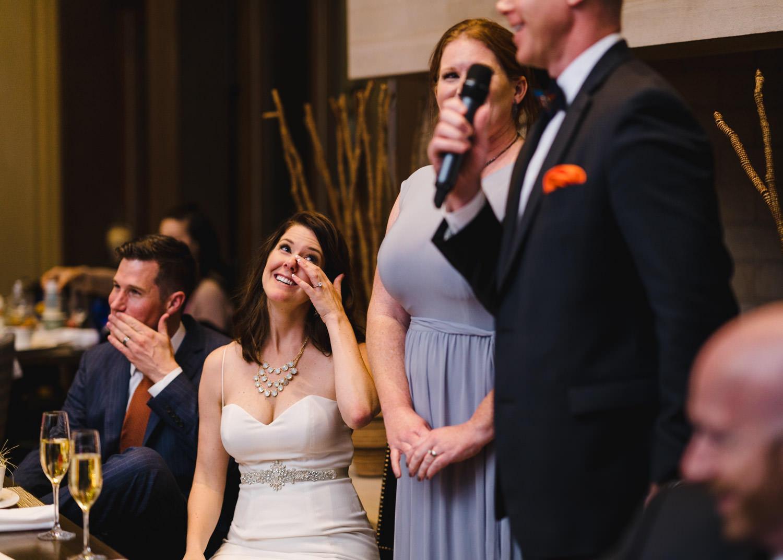 Tuhaye Golf Club Wedding bride crying during speeches photo
