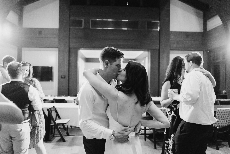 Talisker Tuhaye Golf Club Wedding in Park City bride and groom kissing photo