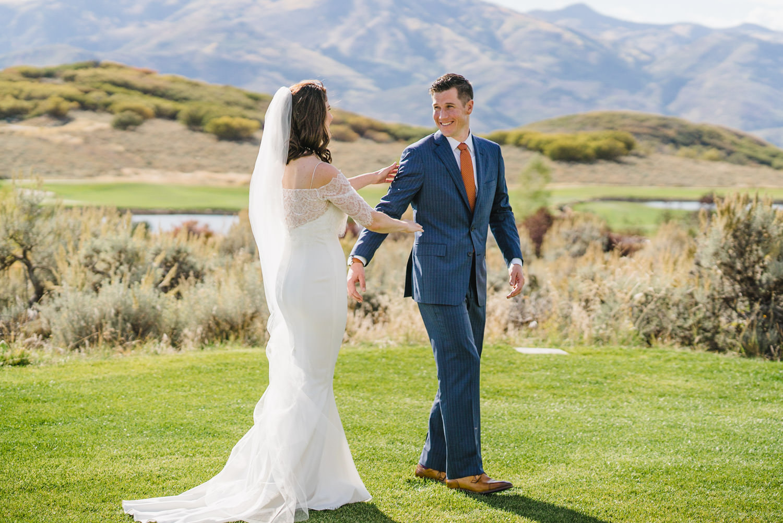 Tuhaye Golf Club Wedding bride and groom's first look photo