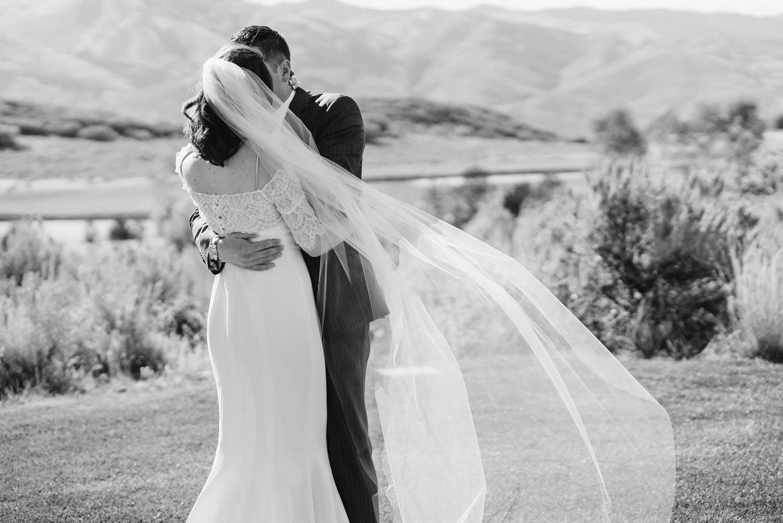 Tuhaye Golf Club Wedding in Park City bride and groom kissing photo