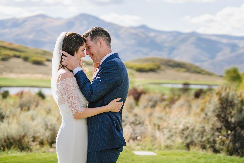 Tuhaye Golf Club Wedding bride and groom smiling photo