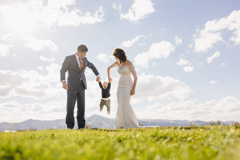 Tuhaye Golf Club Wedding bride and groom with baby photo
