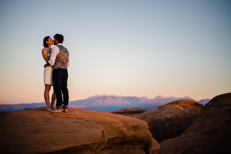 Arches National Park Wedding newlyweds kissing photo
