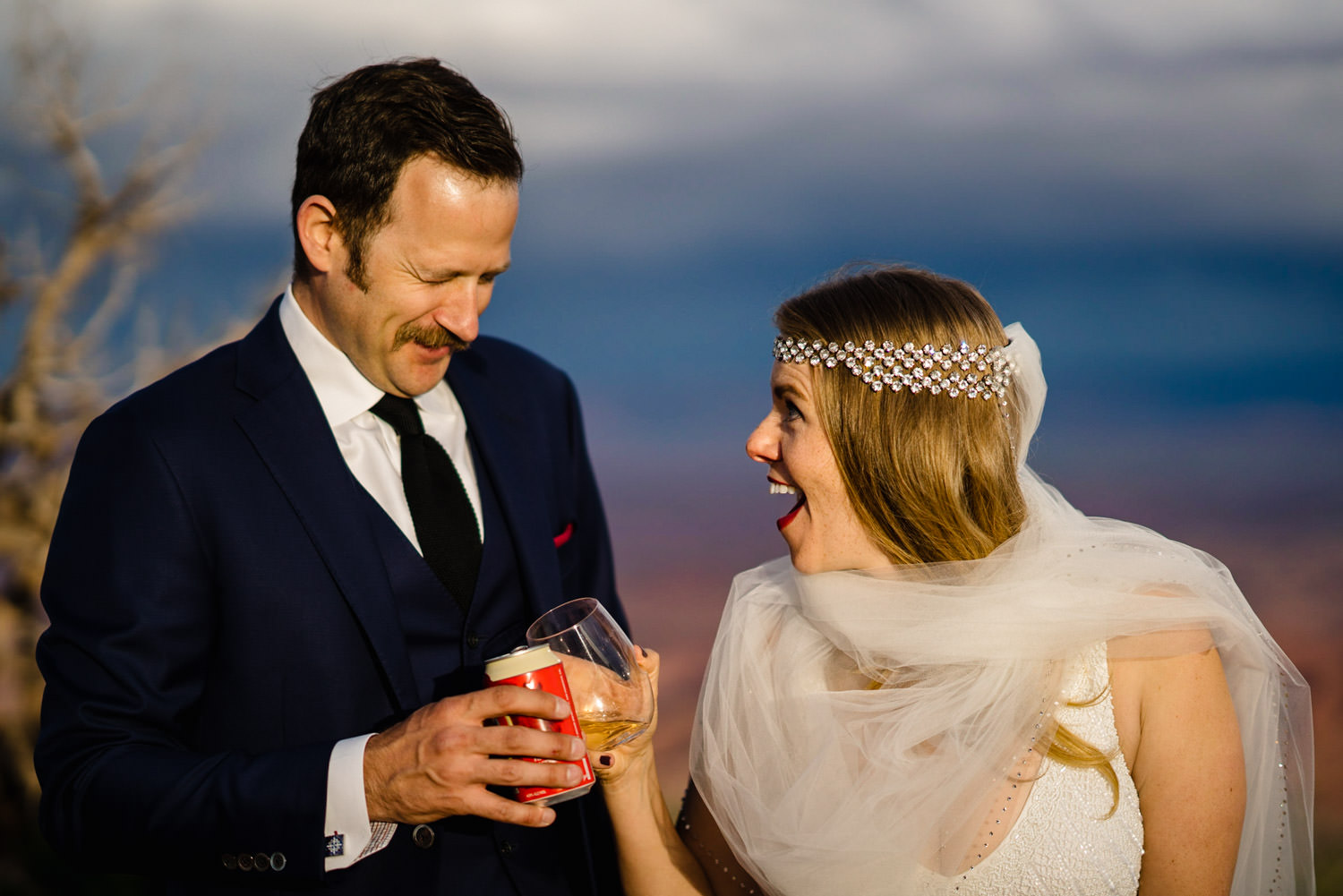 Canyonlands National Park Wedding bride and groom toast photo