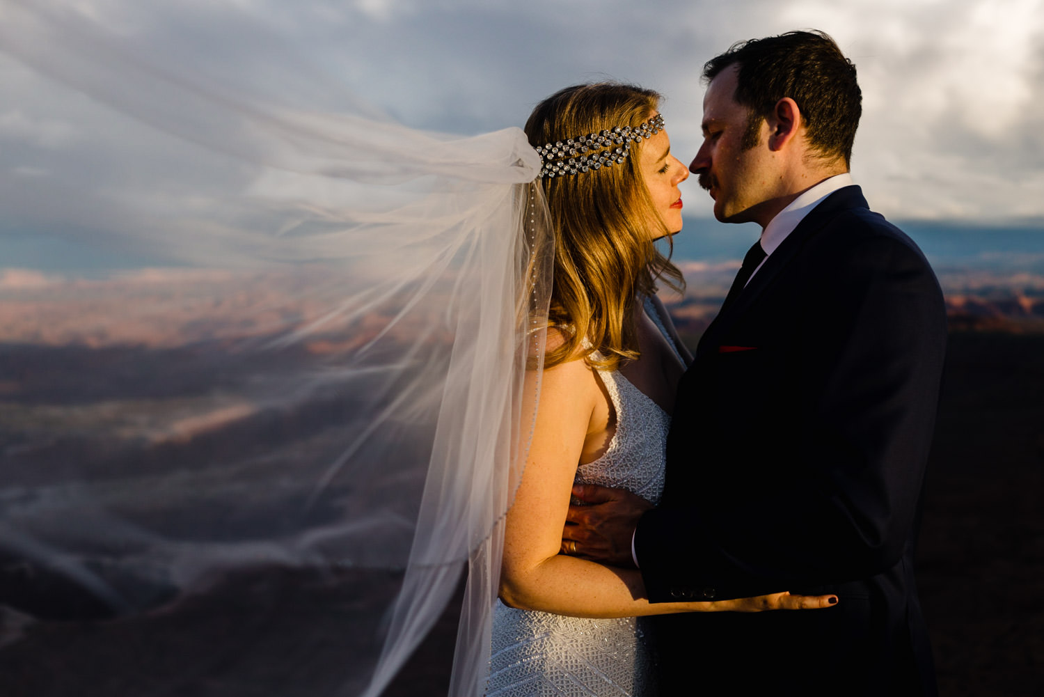 Canyonlands National Park Wedding bride's veil blowing in the wind photo