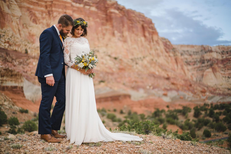 Capitol Reef Wedding newlyweds photo