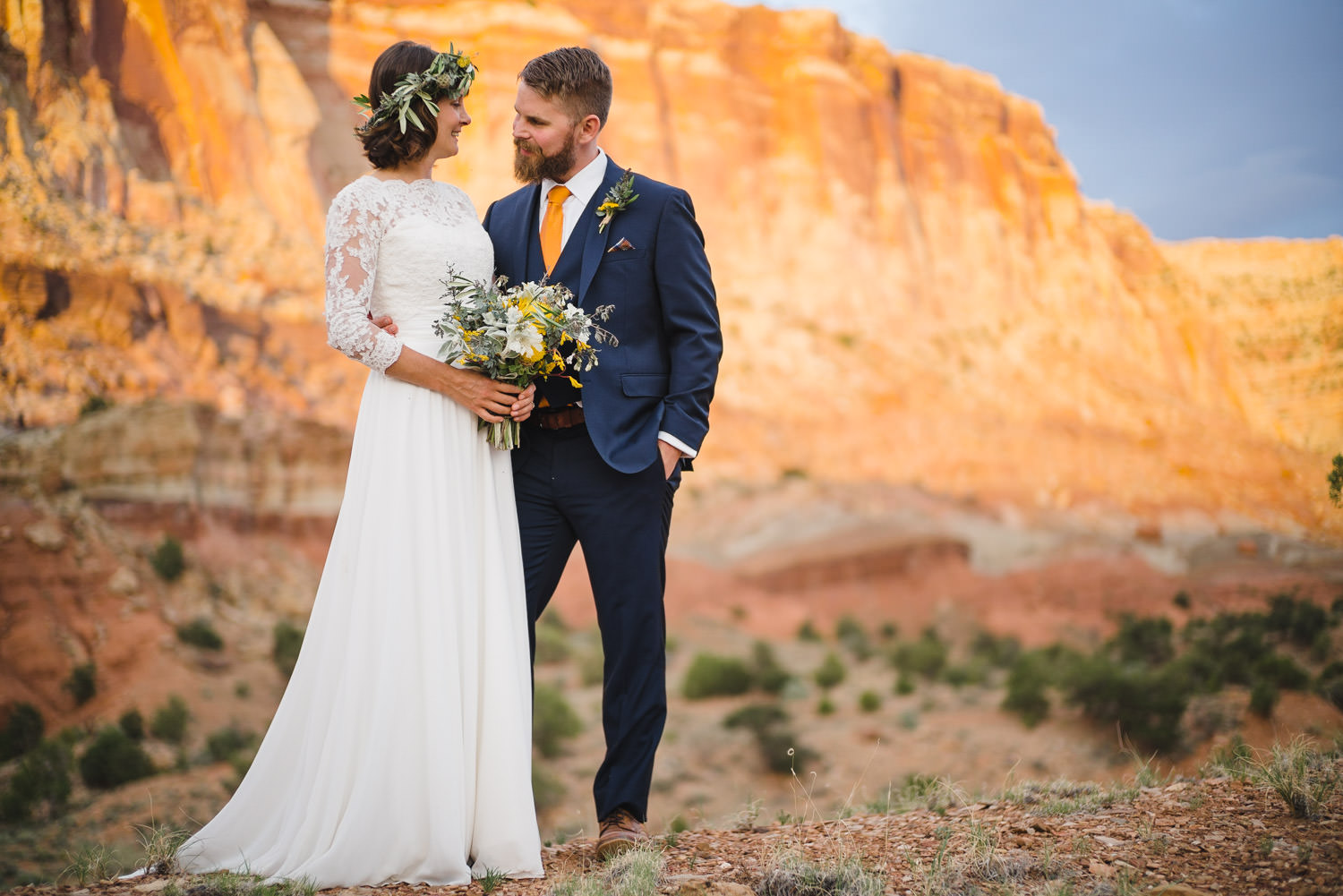 Capitol Reef National Park Wedding groom smiling at his bride photo