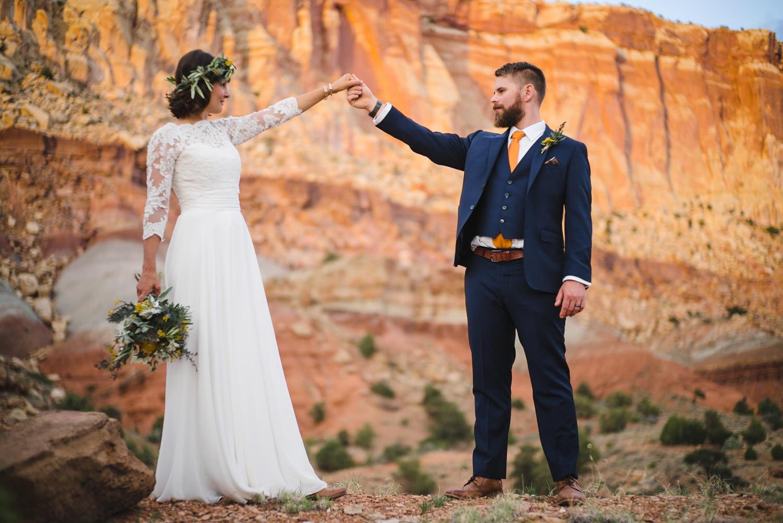 Capitol Reef Wedding newlyweds dancing photo