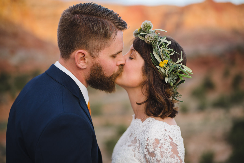 Capitol Reef National Park Wedding newlyweds kissing photo