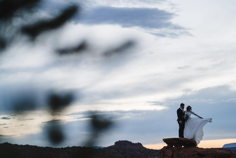 Capitol Reef National Park Wedding newlyweds at dusk photo