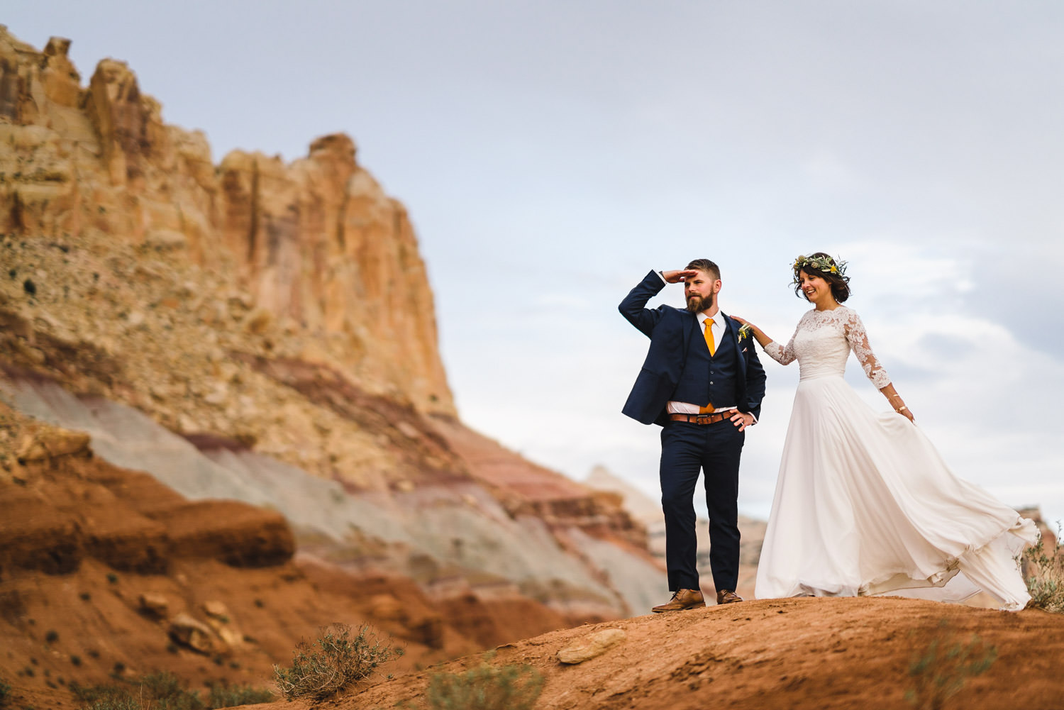 Capitol Reef National Park Wedding bride and groom looking into the distance photo