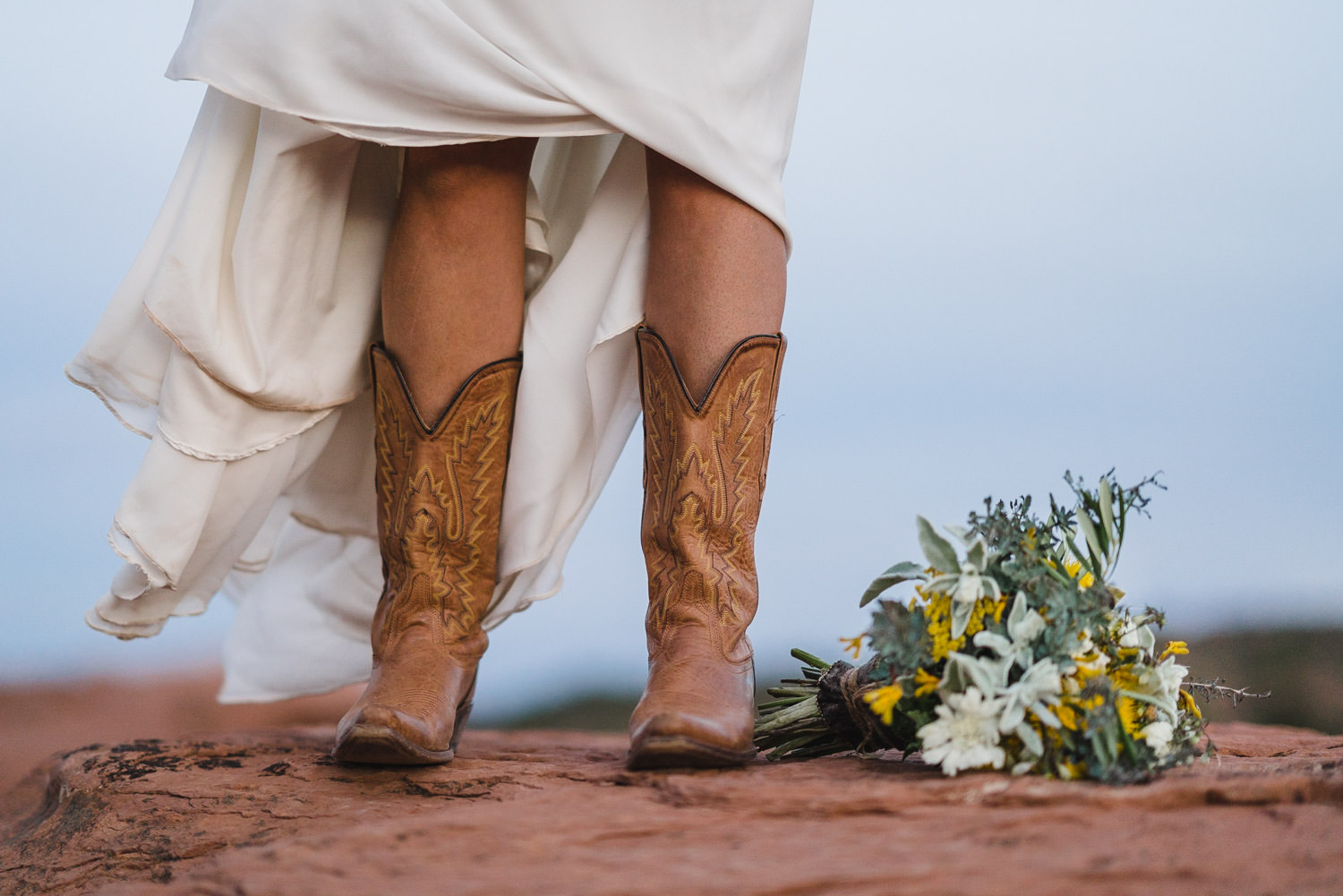 Capitol Reef National Park Wedding bride in cowboy boots photo