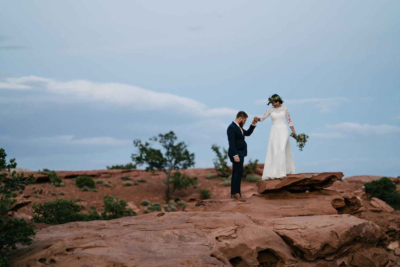 Capitol Reef National Park Wedding newlyweds walking together photo