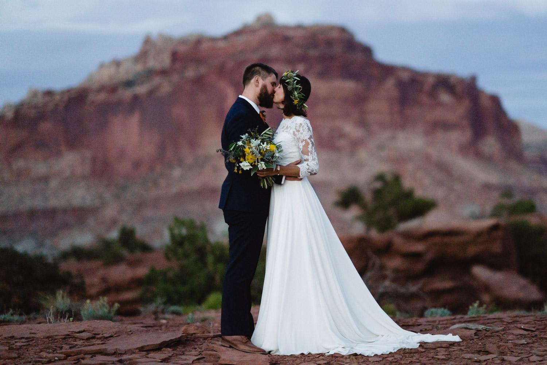National Park Wedding newlyweds kissing photo