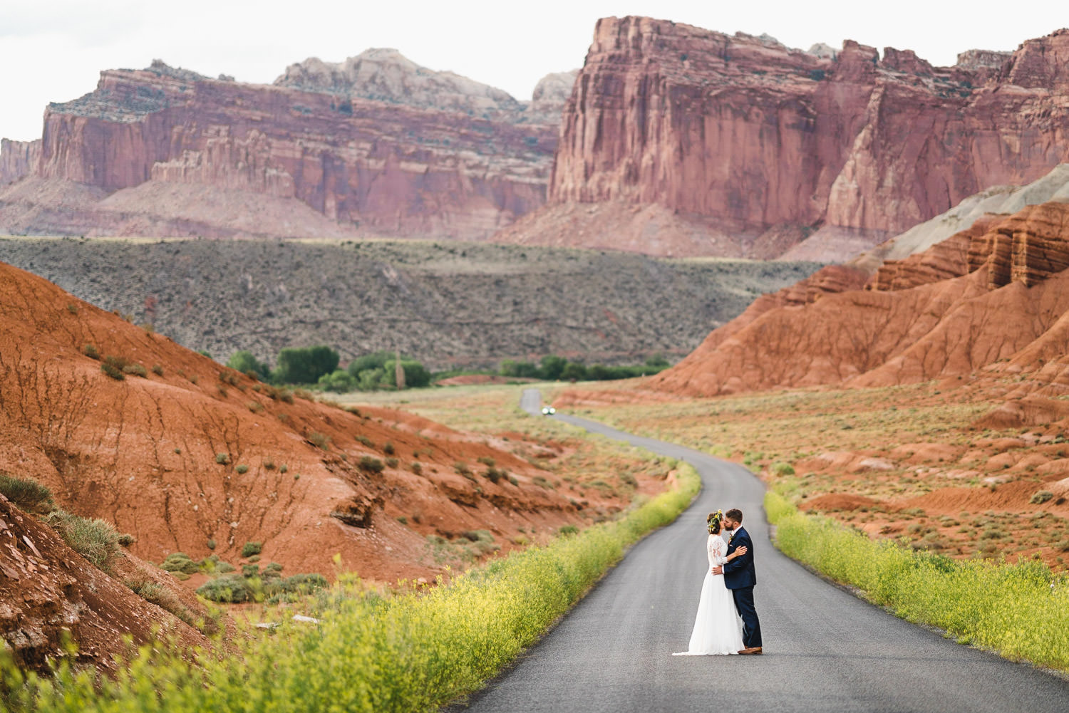 Capitol Reef National Park Wedding bride and groom kissing photo