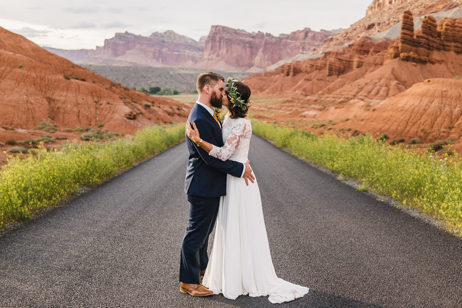 Capitol Reef National Park Wedding bride and groom kissing each other photo