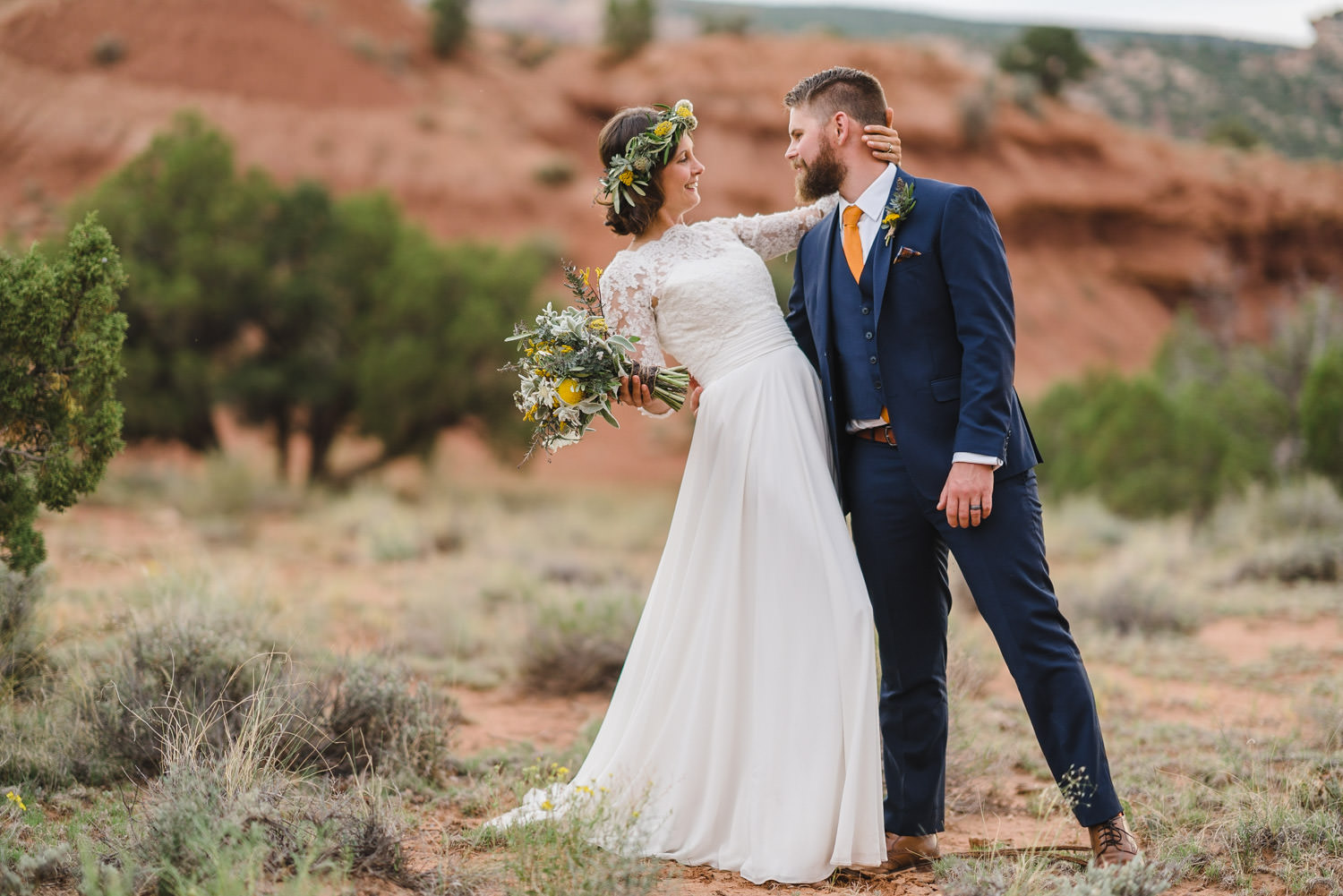 Capitol Reef National Park Wedding bride and groom dancing photo