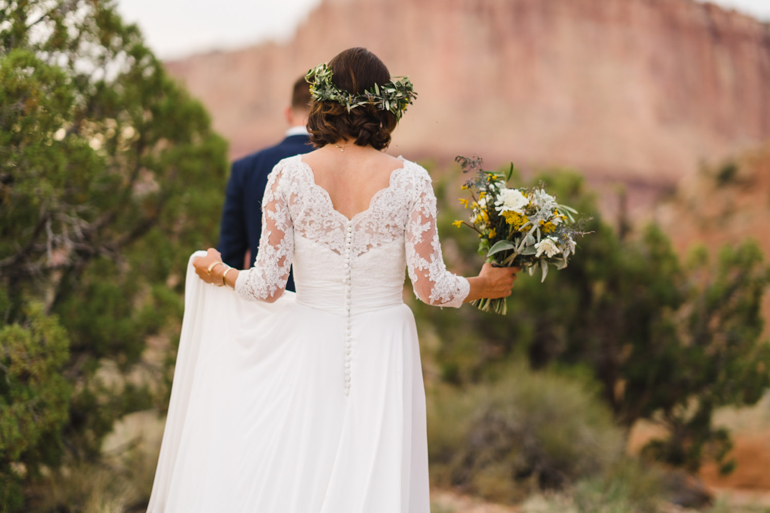 Capitol Reef National Park Wedding bride and her bouquet photo