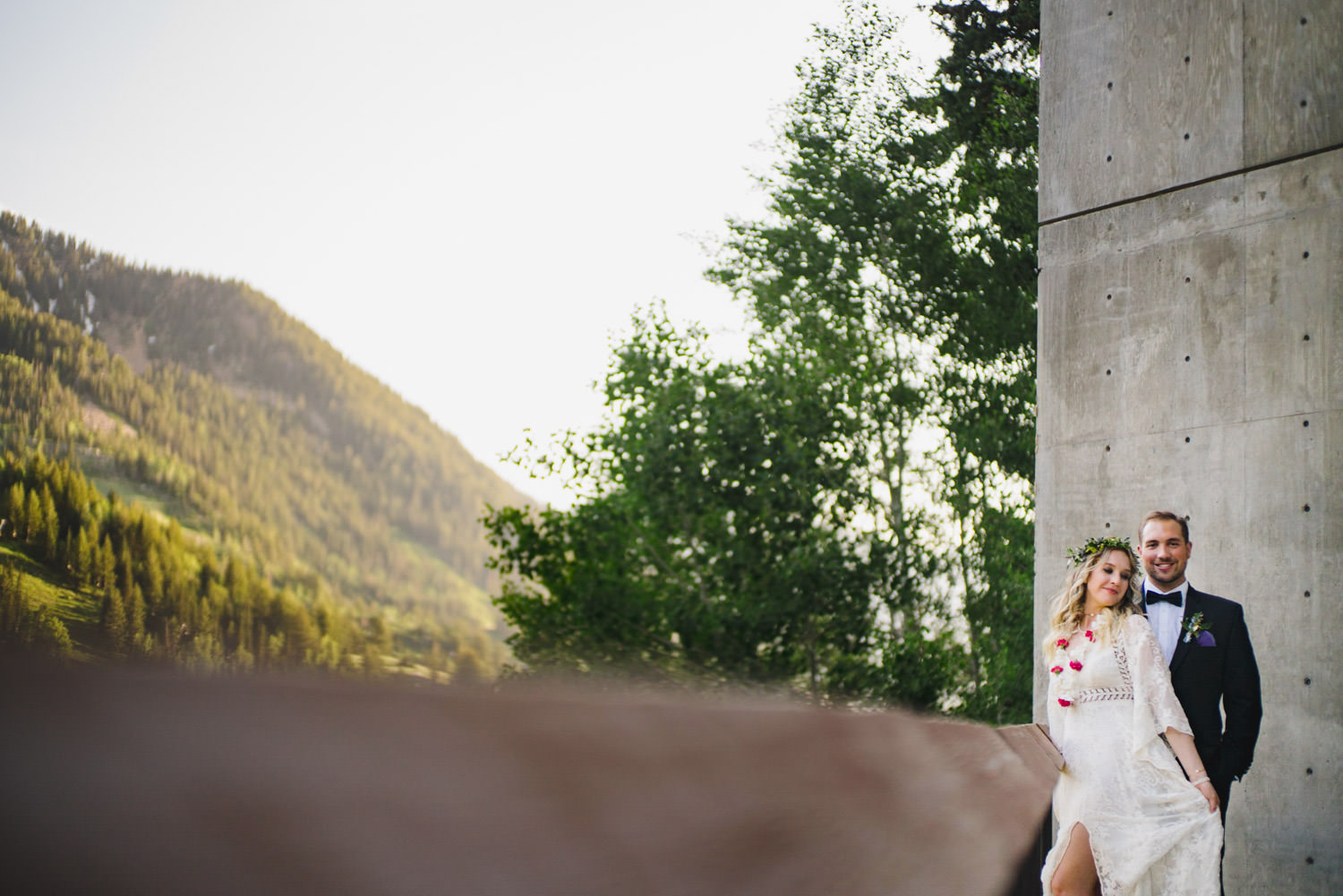 Wedding at Snowbird Cliff Lodge couple outside of the Cliff Lodge photo