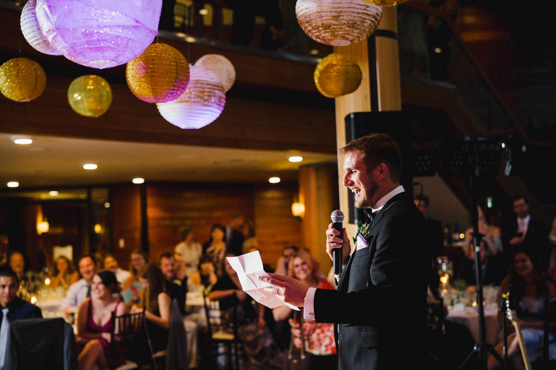 Wedding at Snowbird Cliff Lodge reception toast photo