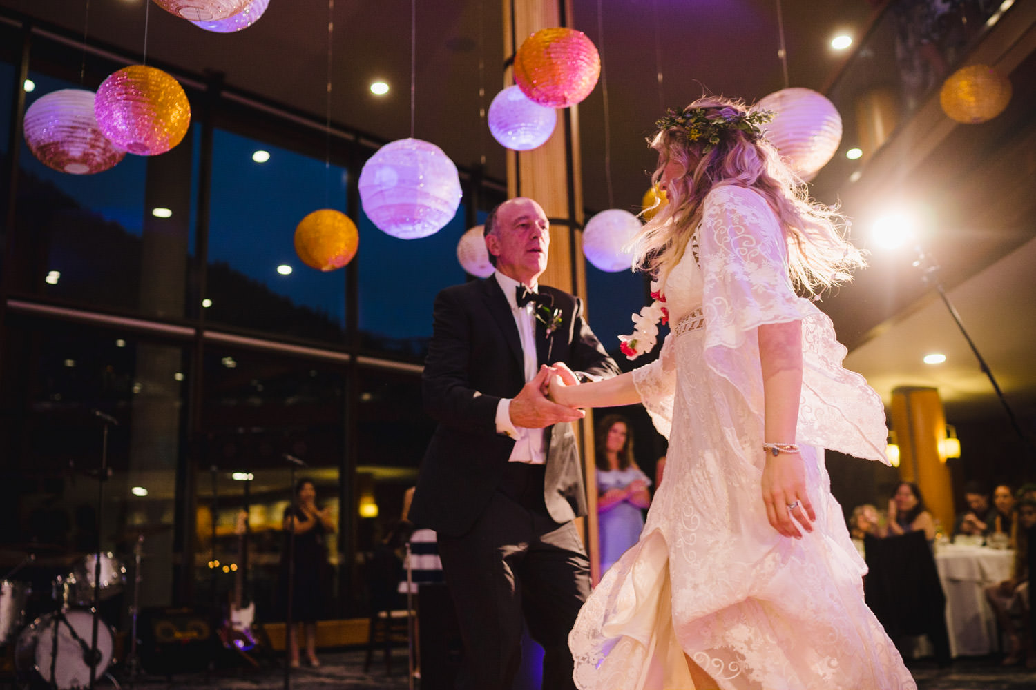 Wedding at Snowbird Cliff Lodge dancing under colorful paper lanterns photo