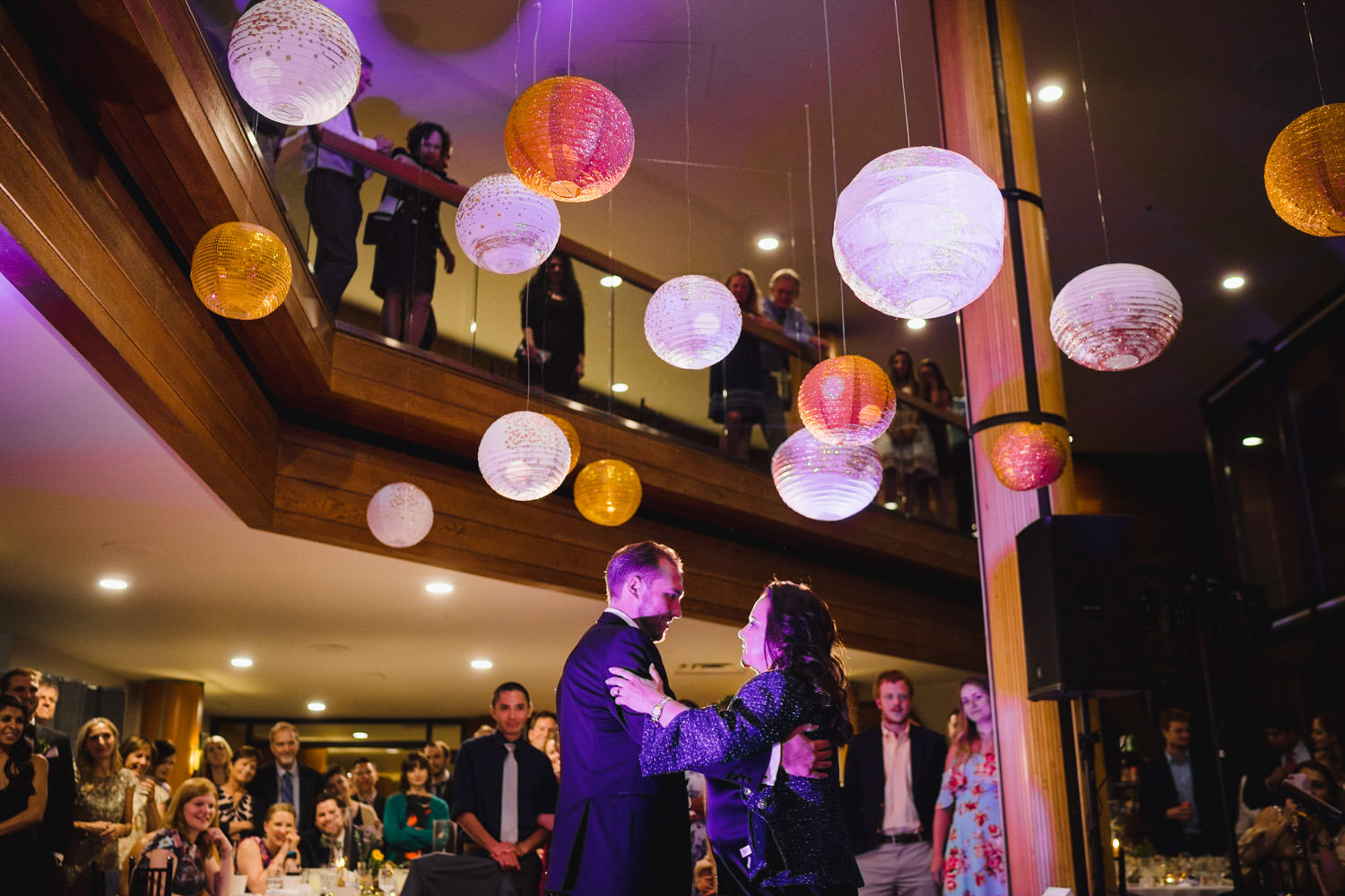 Wedding at Snowbird Cliff Lodge colorful paper lanterns over dance floor photo