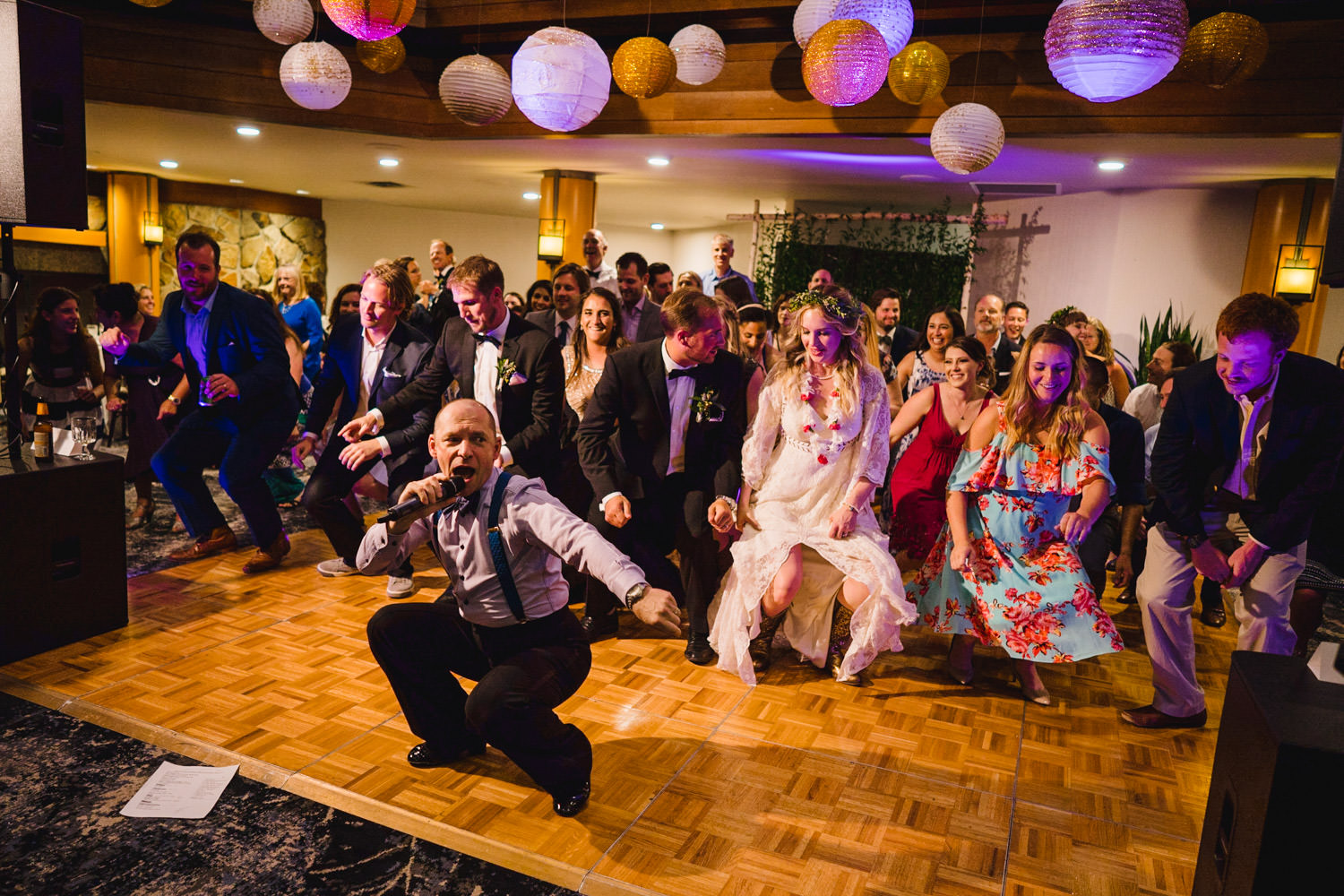 Wedding at Snowbird Cliff Lodge guests get down on dance floor photo