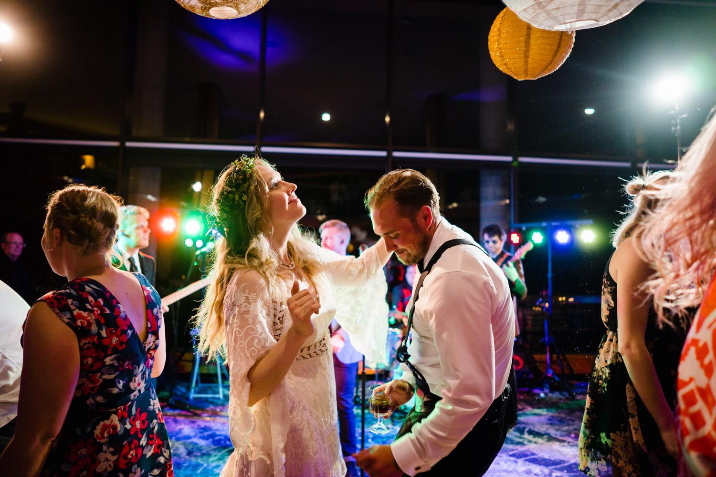 Wedding at Snowbird Cliff Lodge couple enjoying reception photo