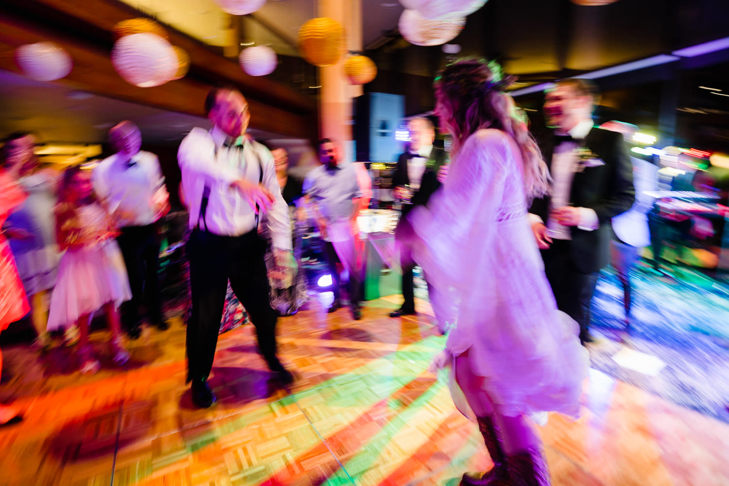 Wedding at Snowbird Cliff Lodge dancing with long exposure photo