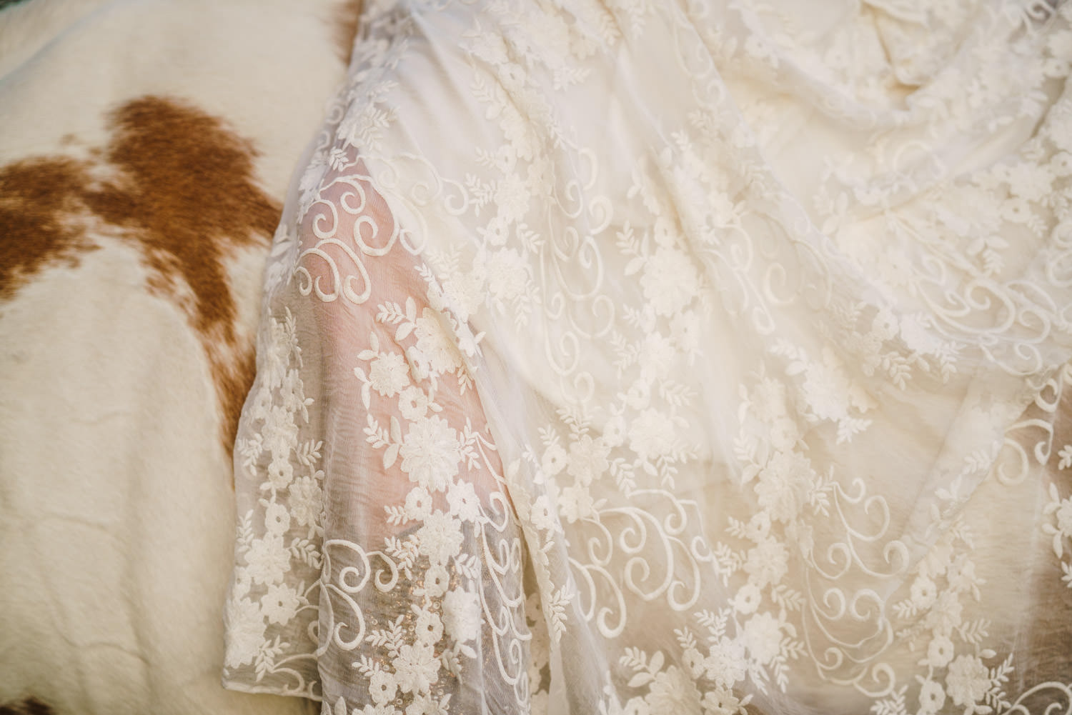 Equestrian bridal session closeup of lace gown and horse spots photo