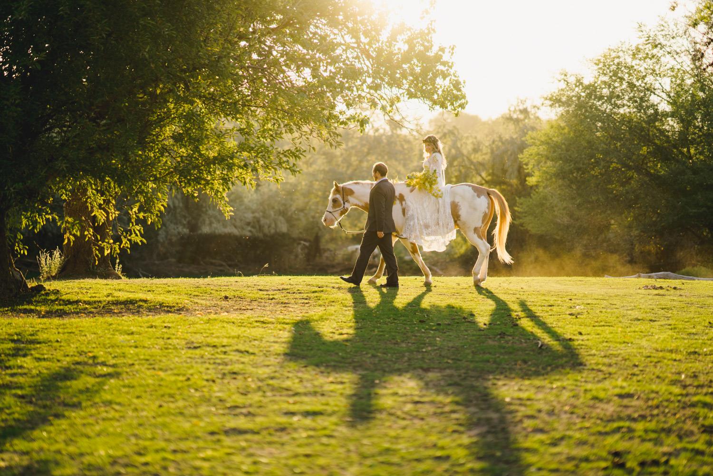 Equestrian bridal session bride on horse photo