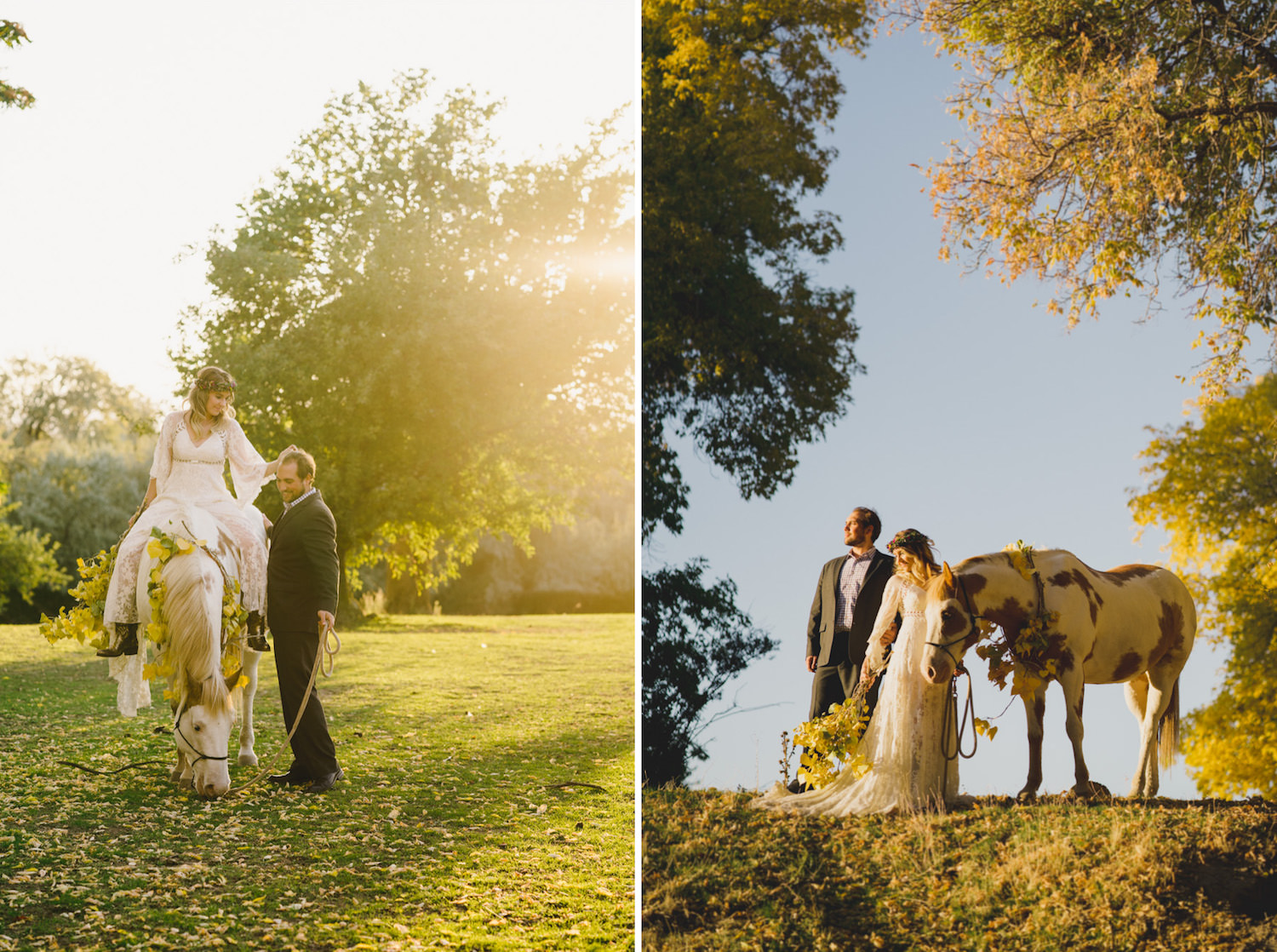 Equestrian bridal session natural couple and horse photo