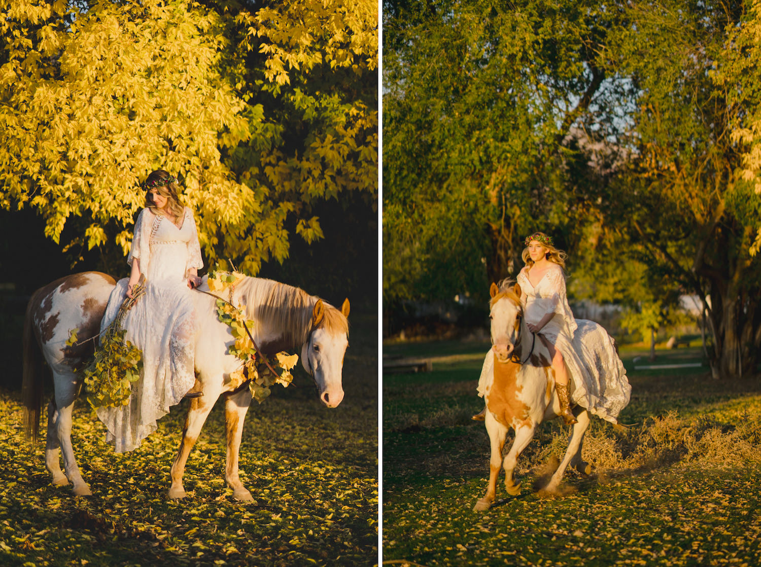 Equestrian bridal session bride on horse with yellow flowers and leaves photo