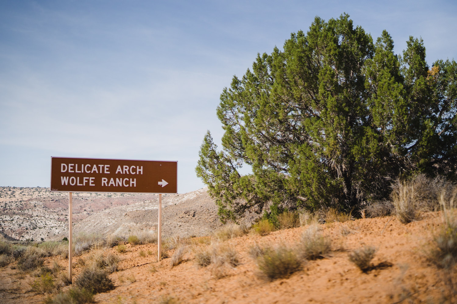 Delicate Arch elopement Wolfe Ranch sign photo