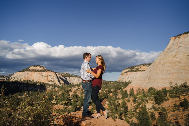 Zion National Park wedding couple hugging photo