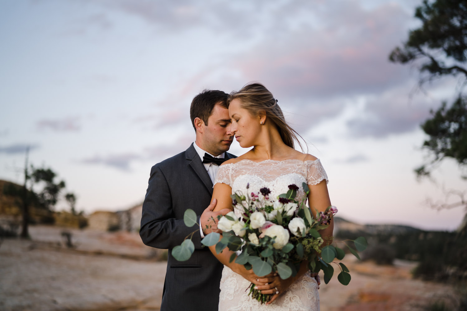 Zion National Park wedding intimate couple with bridal bouquet photo