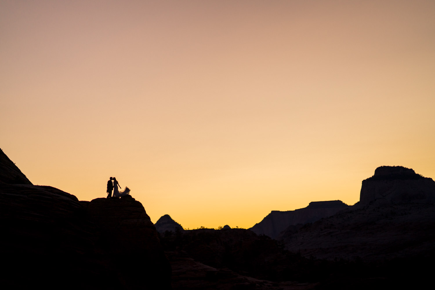 Zion National Park wedding silhouettes at sunset photo