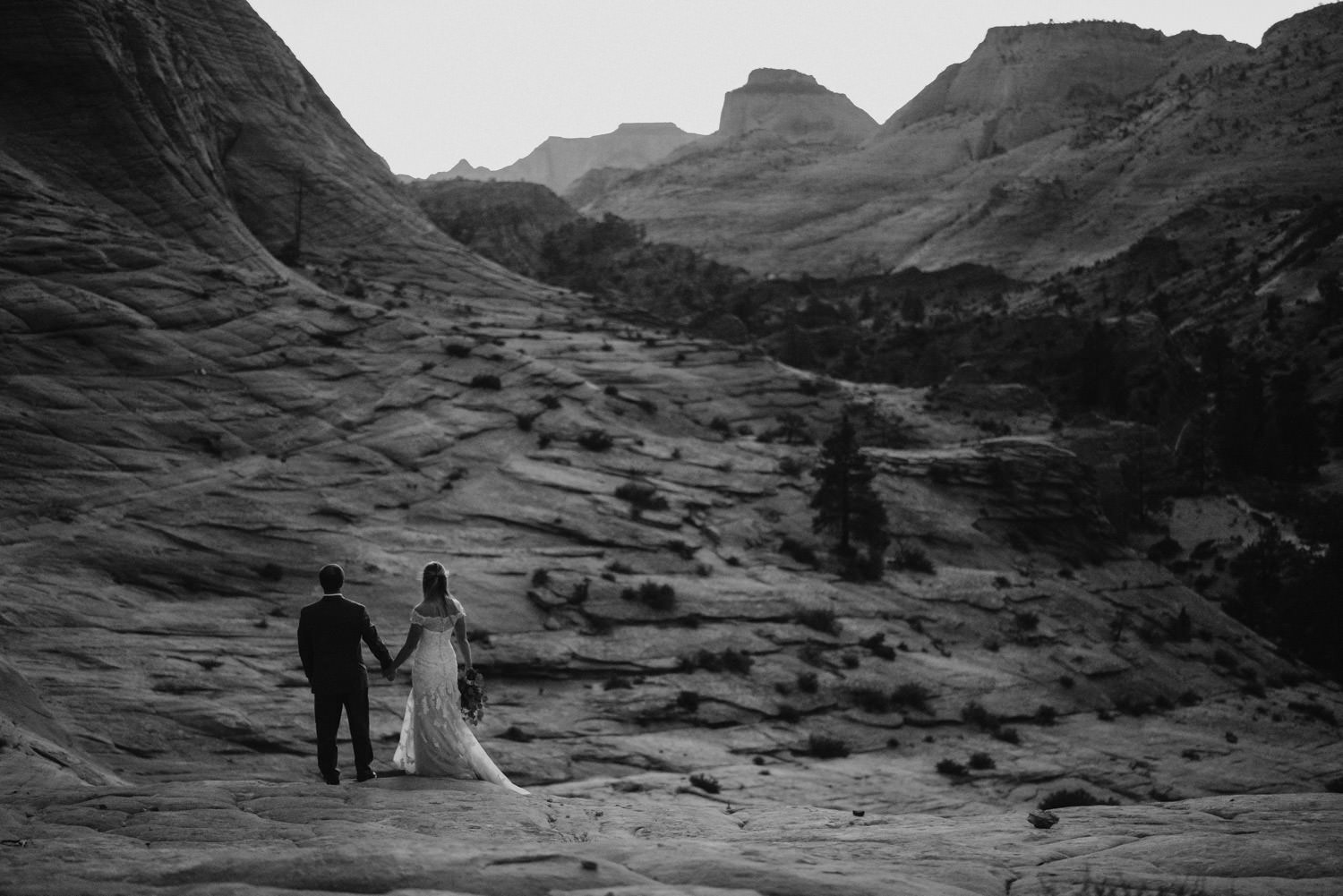 Zion National Park wedding black and white scenic photo
