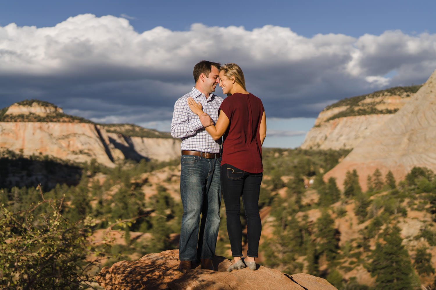 Zion National Park wedding casual couple sharing intimate look photo