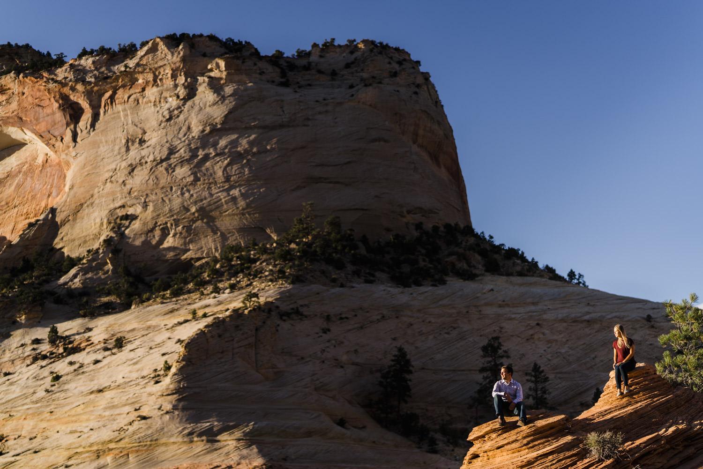 Zion National Park wedding couple enjoying views photo
