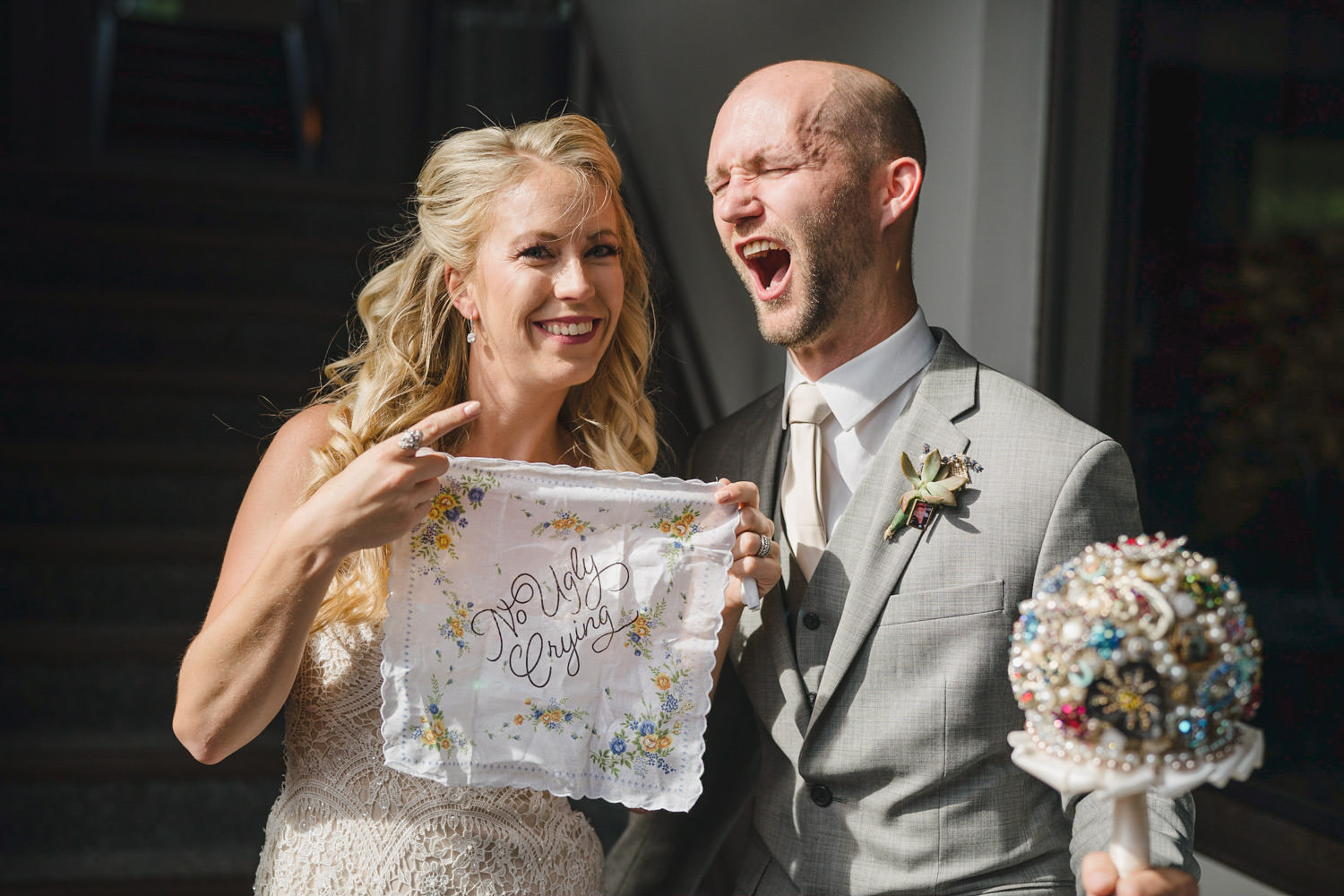 Alta Lodge wedding bride with no ugly crying hanker-chief photo