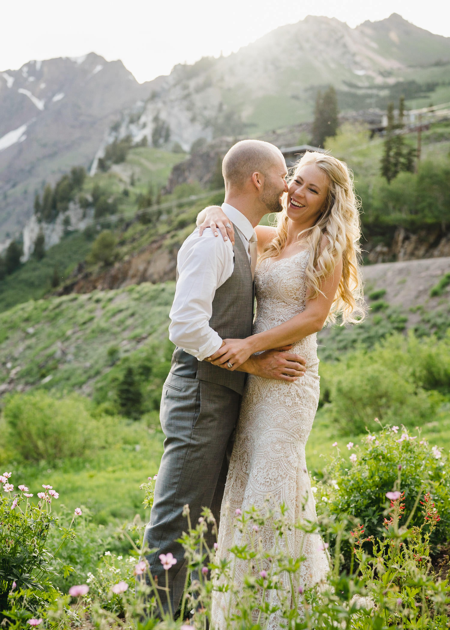Alta Lodge wedding bride and groom laughing photo