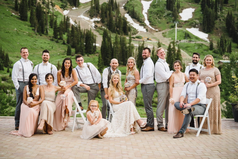 Alta Lodge wedding bridesmaids and groomsmen photo