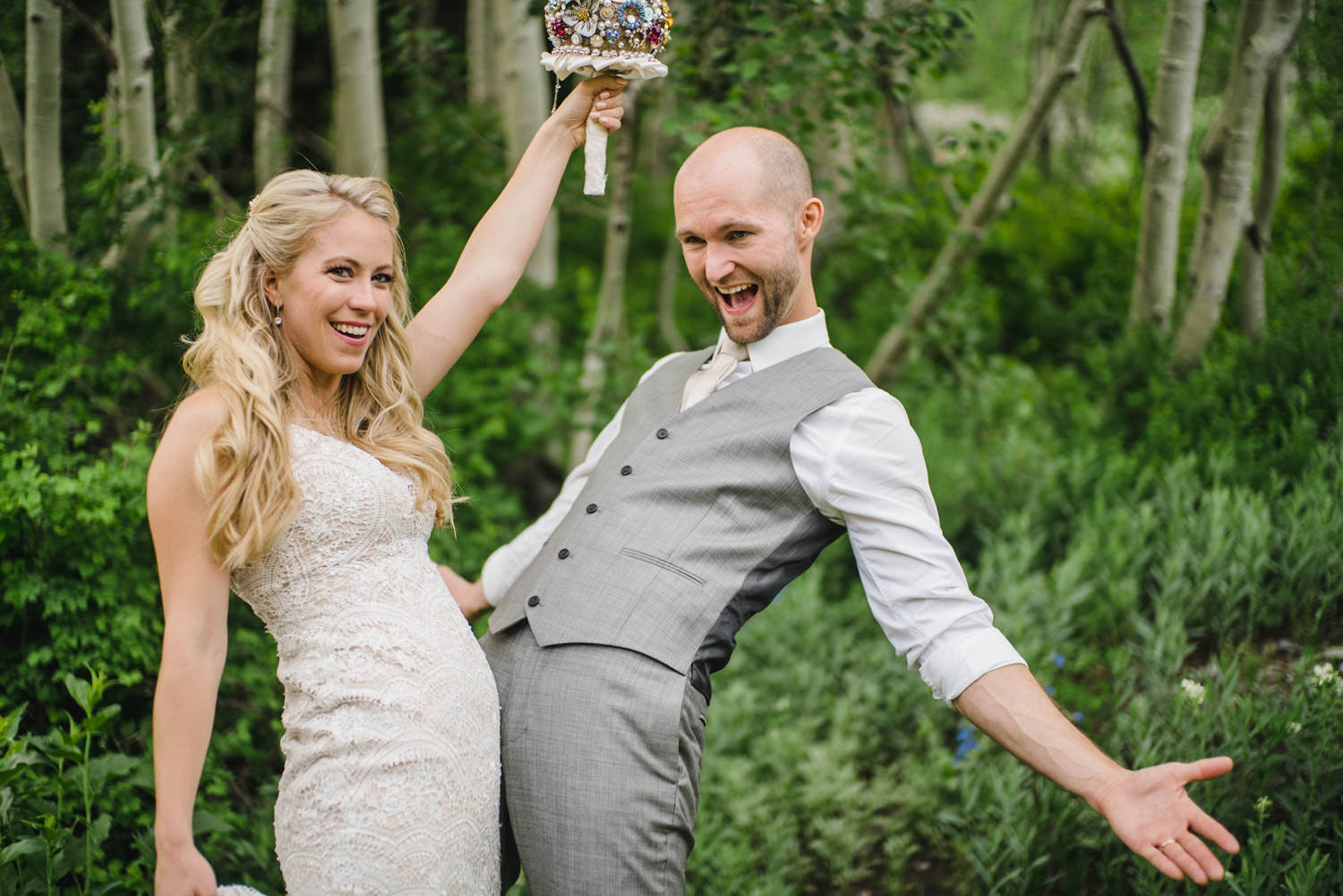 Alta Lodge wedding couple laughing together photo