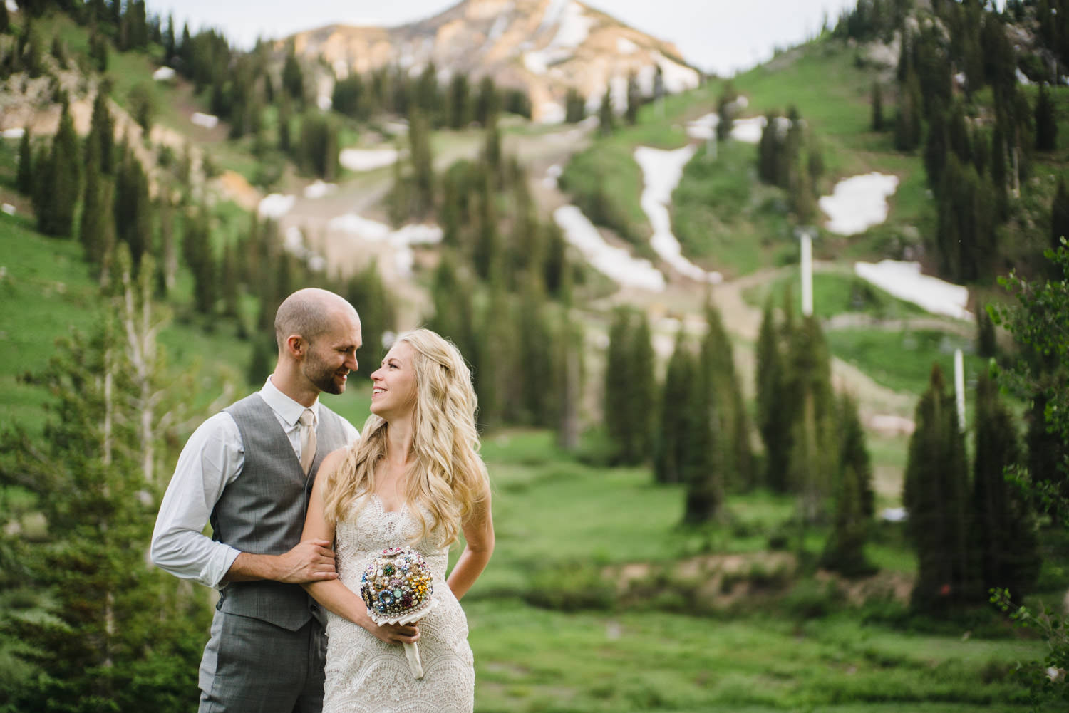 Alta Lodge wedding bride and groom in Little Cottonwood Canyon photo