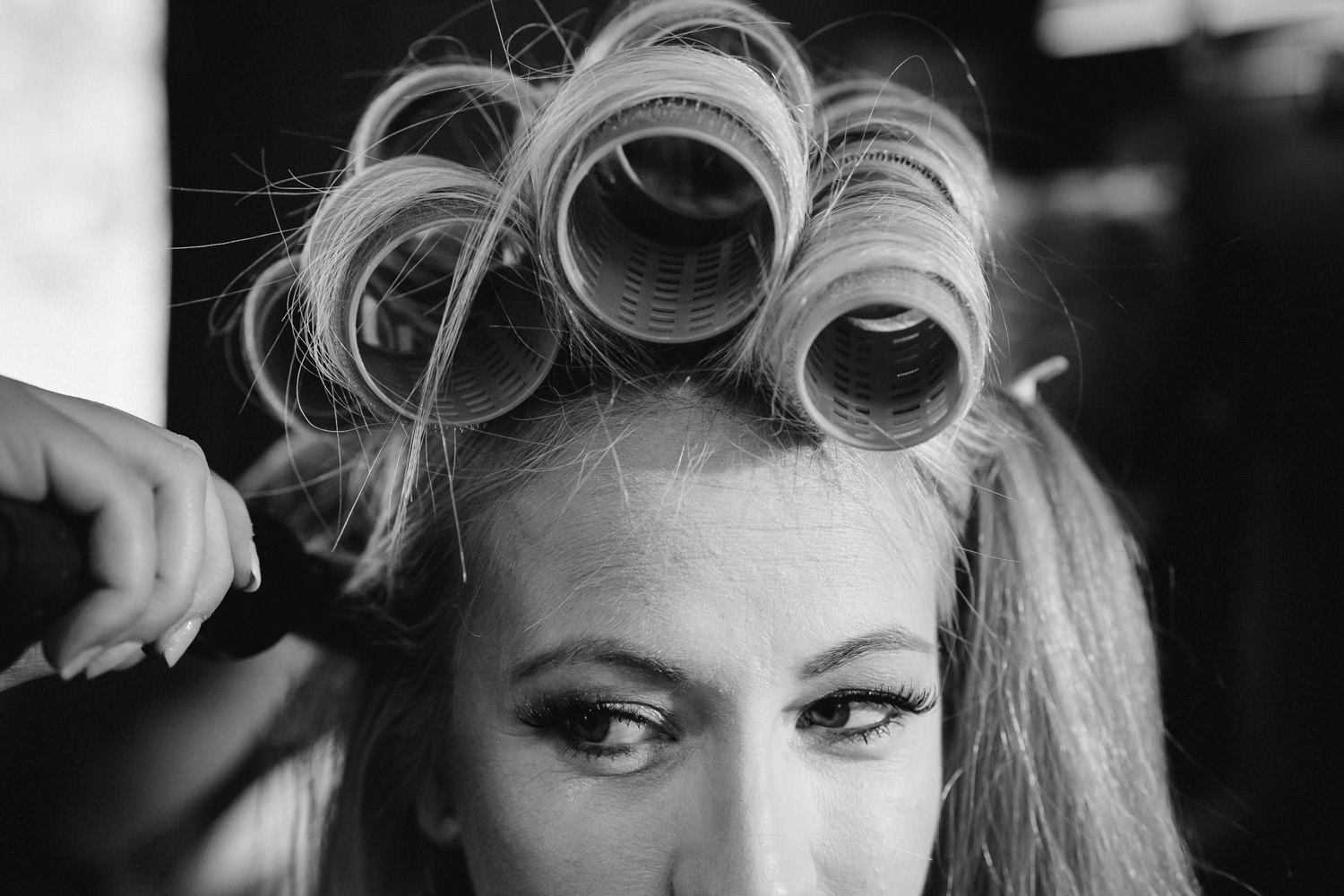 Alta Lodge wedding black and white bride with curlers photo