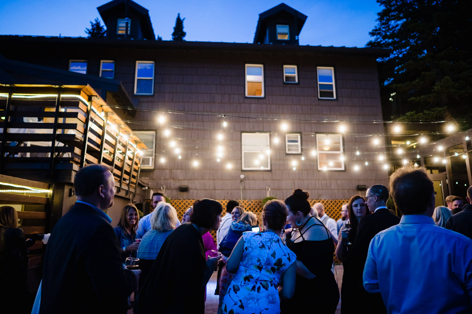 Alta Lodge wedding dance party during blue hour photo