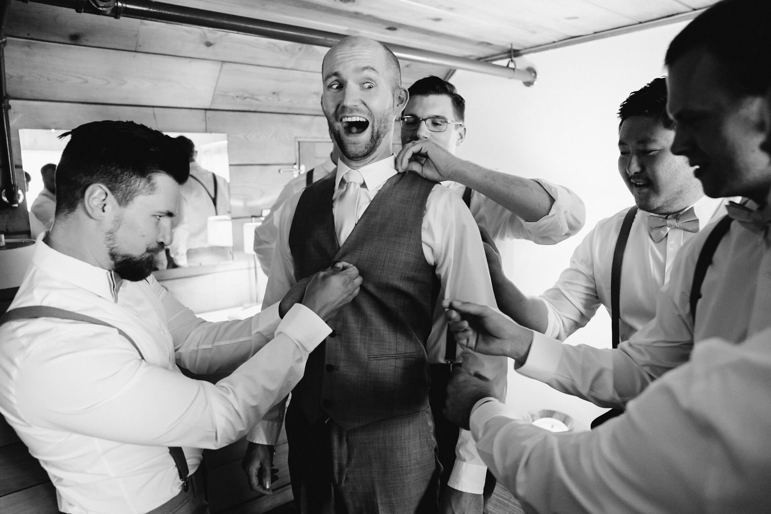 Alta Lodge wedding black and white groom getting ready with groomsmen photo
