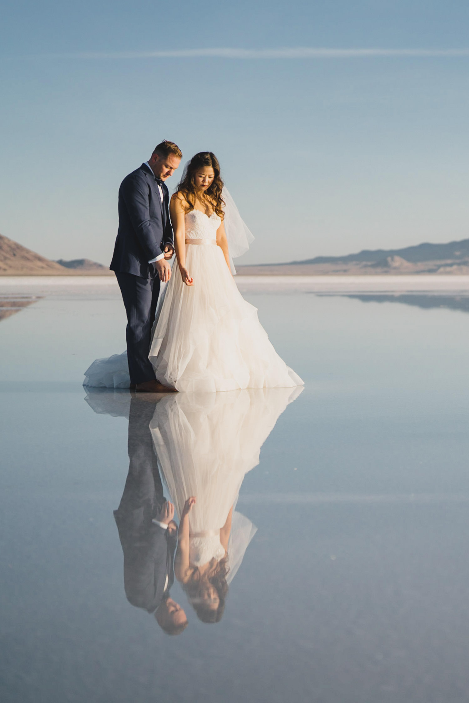 Bonneville Salt Flats wedding bride and groom portrait reflection photo