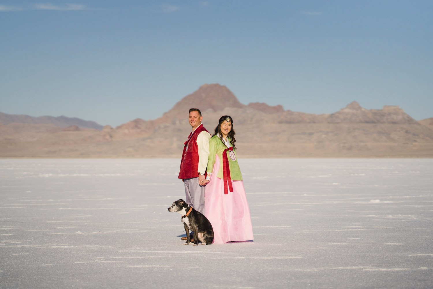 Bonneville Salt Flats wedding bride and groom Hanbok portrait with dog photo